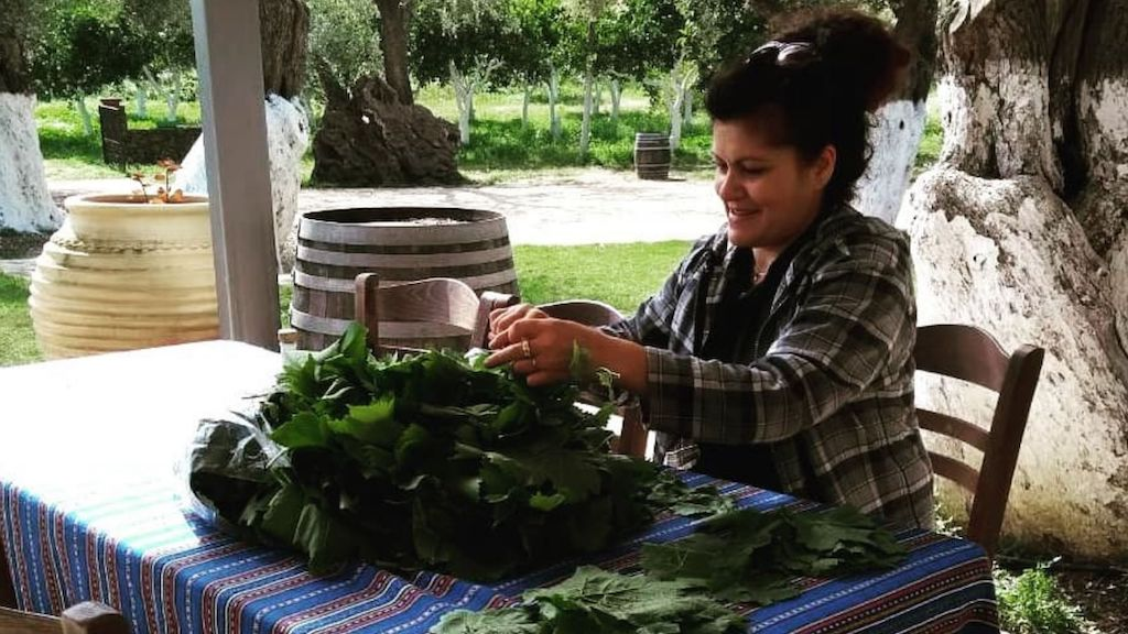 A woman is cooking in Chios