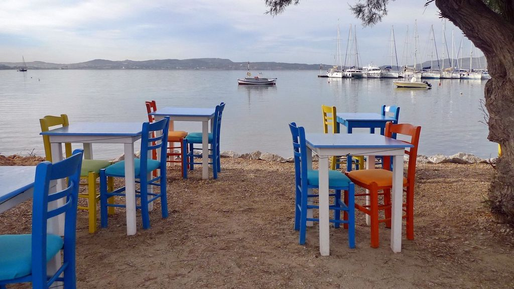 Milos restaurant colourful chairs