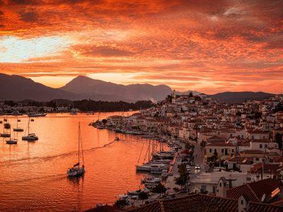 poros sunset in greece